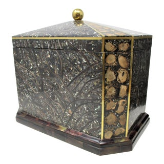 Maitland-Smith Inlaid Stone With Brass Accents Boxe For Sale