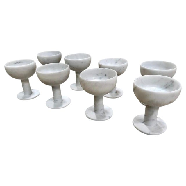 Carrara Marble Chalices, Italy - Set of 8 For Sale