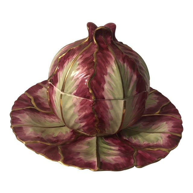 Mottahedeh Wallendorf Red Cabbage Tureen With Under Plate For Sale