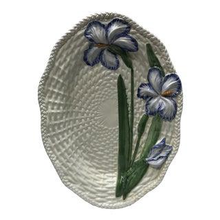 Vintage Italian Basket Weave Creamware Platter For Sale
