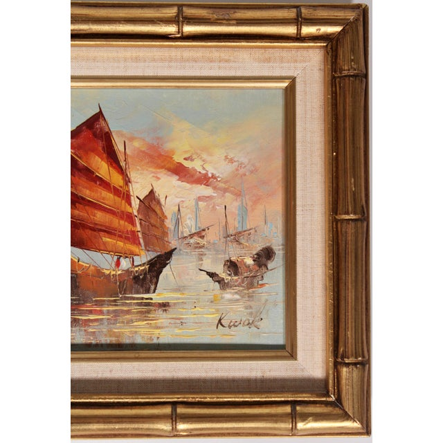 Blue Vintage Coastal Nautical Sailboat Oil Painting For Sale - Image 8 of 11