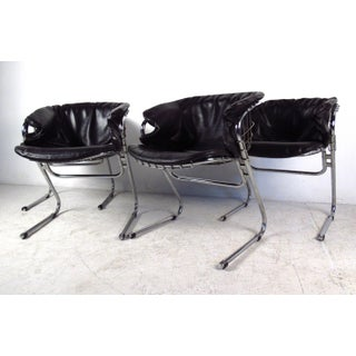 Set of Vintage Modern Cantilever Chrome and Vinyl Armchairs Preview