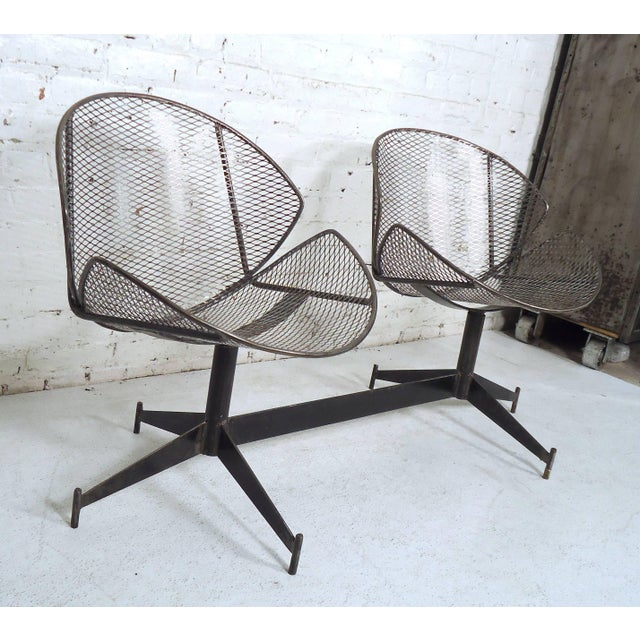 Vintage Industrial Two-Seat Bench For Sale - Image 4 of 9