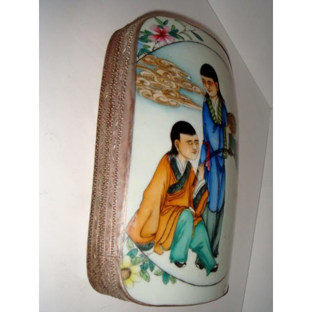 Late 18th Century 18th Century Large Chinese Shard Porcelain Silver Plate Box, Top Lid Opens For Sale - Image 5 of 7