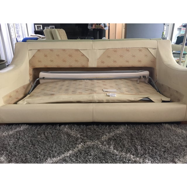 White Roche Bobois Leather Sofa Sleeper For Sale - Image 8 of 9