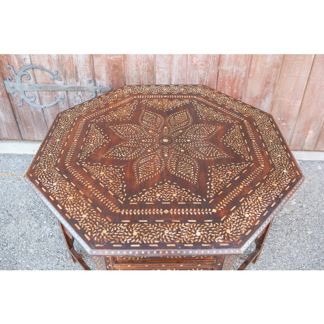 Wood Large Octagonal Bone Inlay Floral Table For Sale - Image 7 of 9
