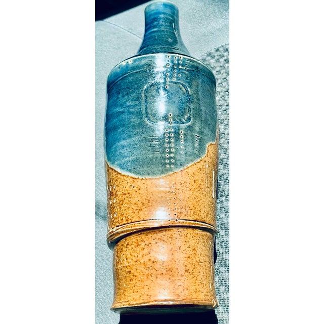 Gold Mid Century PostModern Brutalist Sgraffito Art Pottery Vase For Sale - Image 8 of 13