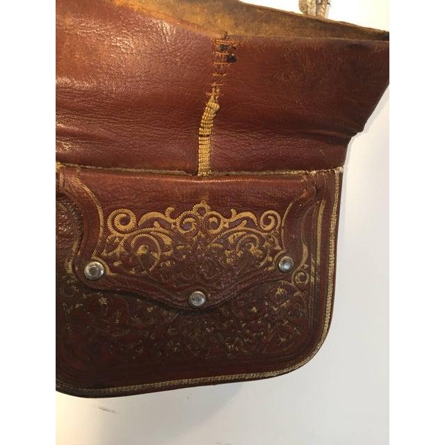 Moroccan Berber Tribal Hand Tooled Leather Shoulder Bag For Sale - Image 4 of 9