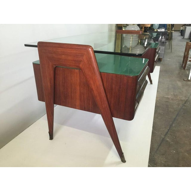 Gold Rosewood Desk by Paolo Buffa with Floating Glass Top For Sale - Image 8 of 9