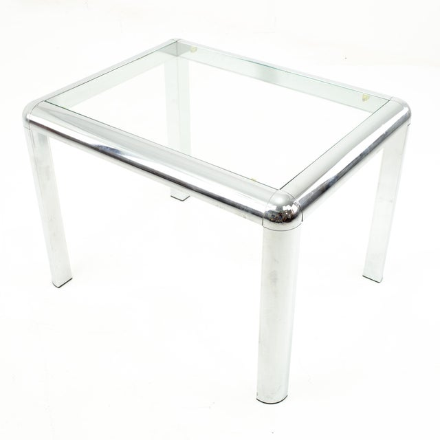 Mid-Century Modern Milo Baughman Style Mid Century Chrome and Glass Side End Table For Sale - Image 3 of 10