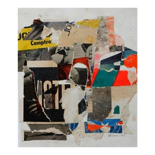 1960s Abstract Paper and Adhesive Collage by Wayne Timm For Sale