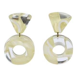 Harriet Bauknight for Kaso Dangle Clip on Earrings White and Mirror Lucite Donut For Sale