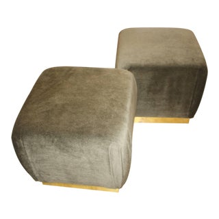 Two Poufs or Ottomans in the Style of Karl Springer and Marge Carson
