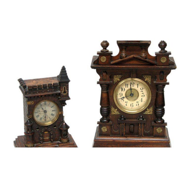 Two 19th century black forest clocks, charming form, great old patina.