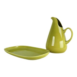 Vintage Russel Wright American Modern Steubenville Pottery Pitcher and Platter - a Pair For Sale