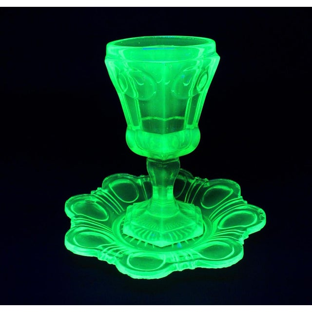 Antique Imperial Russian Uranium Glass Goblet and Saucer For Sale - Image 10 of 12
