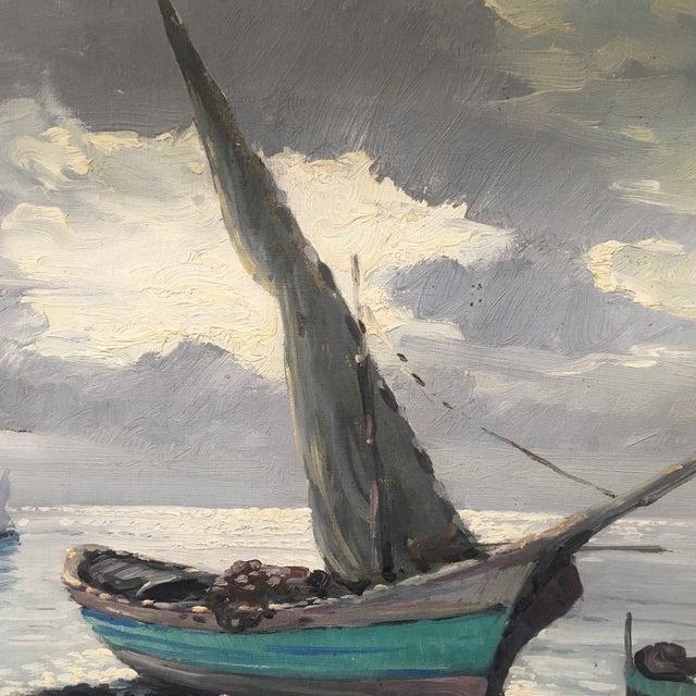 Vintage Nautical Oil Seascape - Image 8 of 11