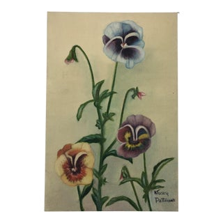Vintage Mid-Century Floral Still Life with Pansies Signed Painting For Sale
