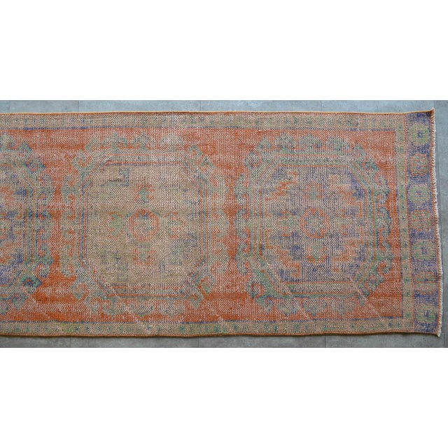 """Faded Colors Runner Low Pile Distressed Oushak Rug Runner - 2'11"""" X 11'10"""" For Sale In Raleigh - Image 6 of 9"""