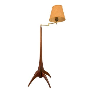 Walnut Studio Hand Carved Floor Lamp in the Style of Phillip Lloyd Powell For Sale