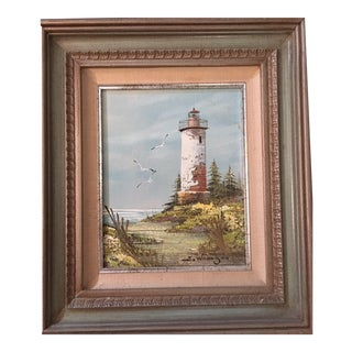 """Original"" Light House Oil on Canvas Painting For Sale"