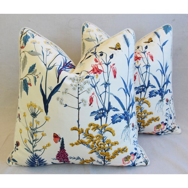 "Feather Floral Wildflower Botanical Cotton & Linen Feather/Down Pillows 24"" Square - Pair For Sale - Image 7 of 13"