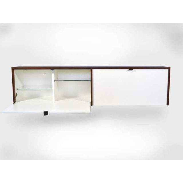 Wood Pair of Florence Knoll Walnut Wall Mounted Credenzas or Cabinets For Sale - Image 7 of 10
