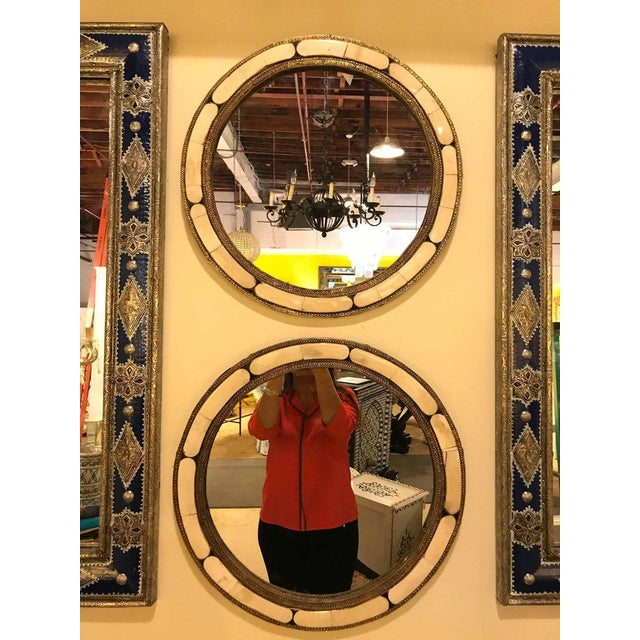 Pair of White Brass Moorish Style Mirrors For Sale - Image 4 of 9