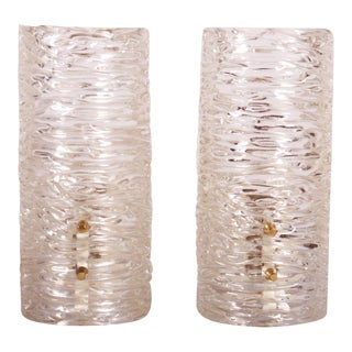 Structured Glass Wall Lamps by JT Kalmar - A Pair For Sale