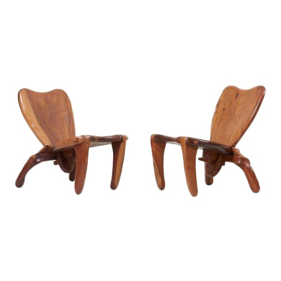 Pair of Craft Wooden Studio Lounge Chairs by Don Shoemaker, Mexico, 1960s For Sale