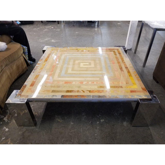 1970s Modern Marcello Mioni Pietra Dura Marble & Chrome Coffee Table For Sale In Miami - Image 6 of 11