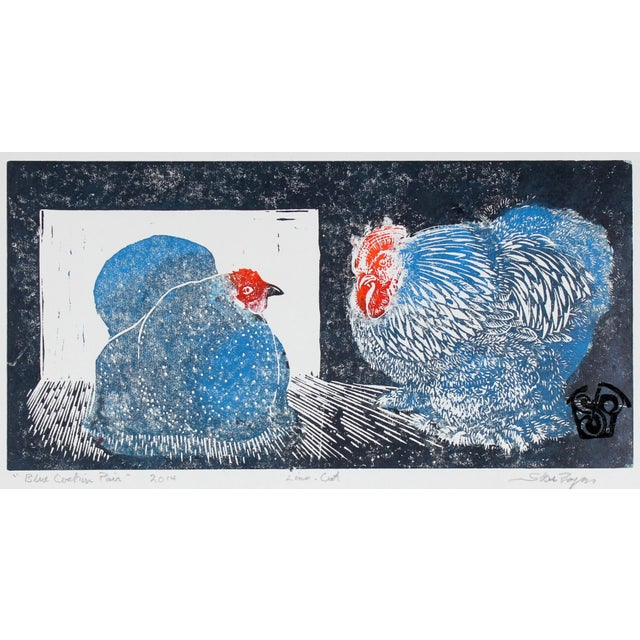 """Contemporary """"Blue Cochin Pair"""" Chicken Linocut Print, 2014 For Sale - Image 3 of 3"""