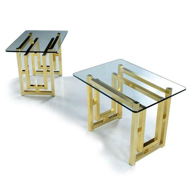 Metal Pair of Hollywood Regency Mid-Century Modern Milo Baughman Gold Brass End Tables For Sale - Image 7 of 8
