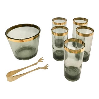 Mid-Century Highball Glasses With Ice Bucket - 7 Piece Set For Sale