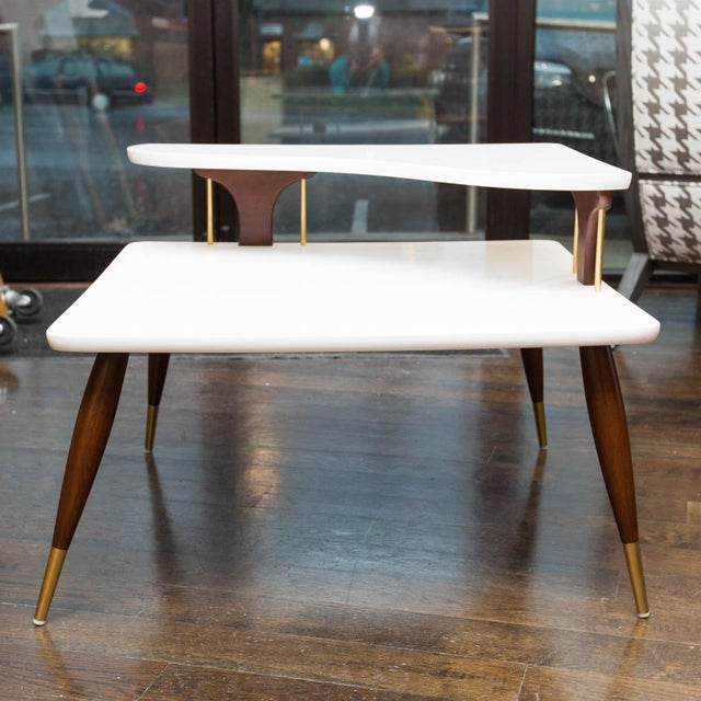 Vintage Lacquered Two-Tiered Corner Table - Image 5 of 8