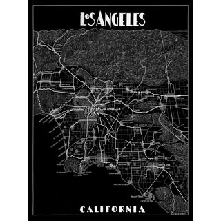 Los Angeles Black and White Map Print For Sale
