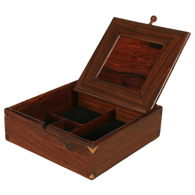 Square Rosewood Jewelry Box For Sale