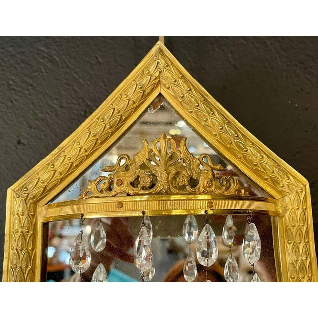 Gold Maison Baguès Mirrored Wall Lights, Sconces or Girandoles - a Pair For Sale - Image 8 of 13