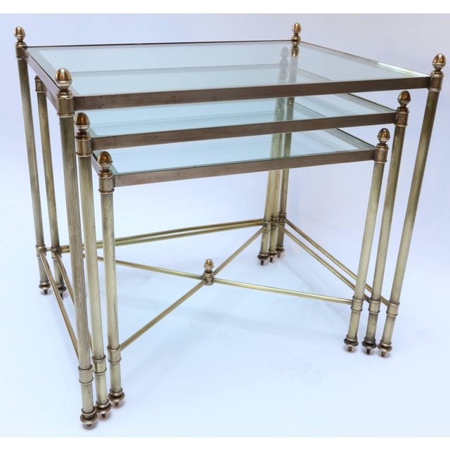 Mid-Century Modern 1960s Italian Brass Nesting Tables-Set of 3 For Sale - Image 3 of 10