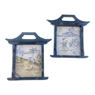 Vintage Chinoiserie Prints in Pagoda Frames