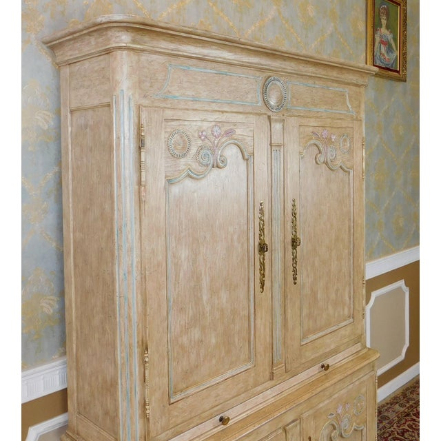Country French Baker Furniture Paint Decorated Armoire Bar Cabinet For Sale - Image 9 of 9