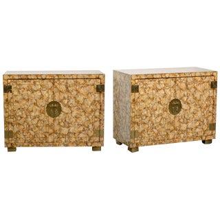 Pair of Vintage Henredon Faux Tortoiseshell Cabinets For Sale