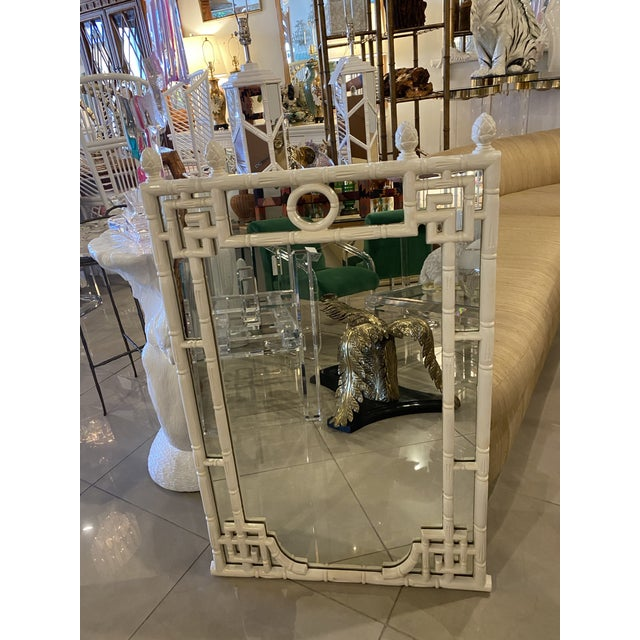 1970s Vintage Chinese Chippendale White Faux Bamboo Greek Key Wall Mirror For Sale - Image 5 of 12
