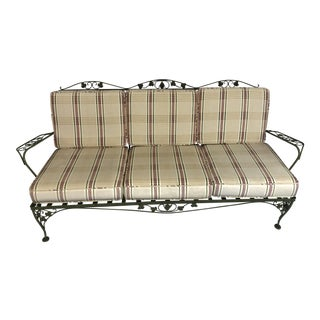 Vintage Woodard Style Wrought Iron Sofa For Sale