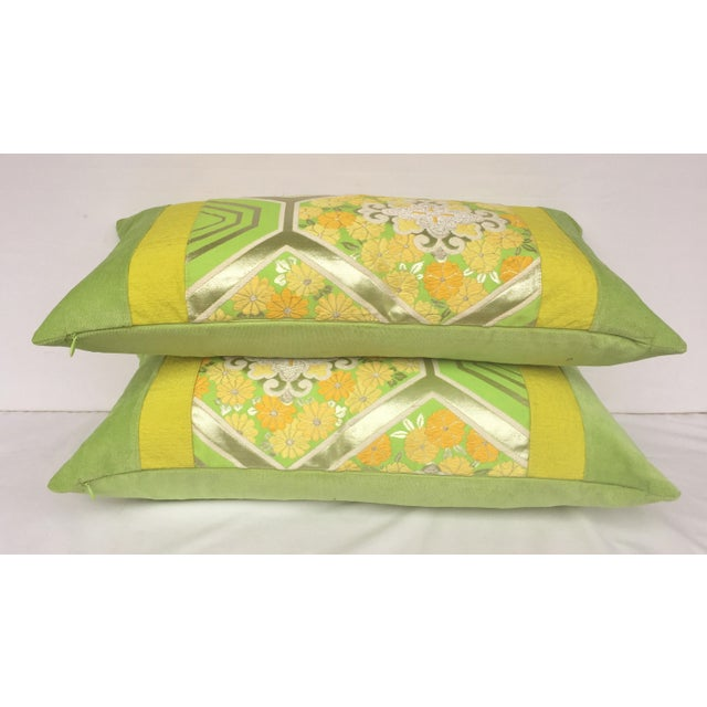 Green Japanese Obi Pillows - A Pair - Image 4 of 4