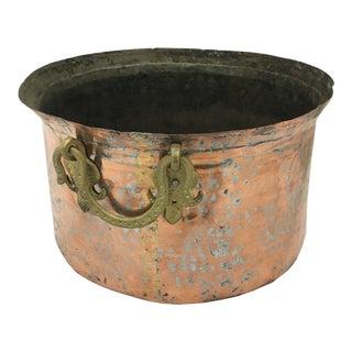 Antique Copper Cauldron With Brass Handles For Sale