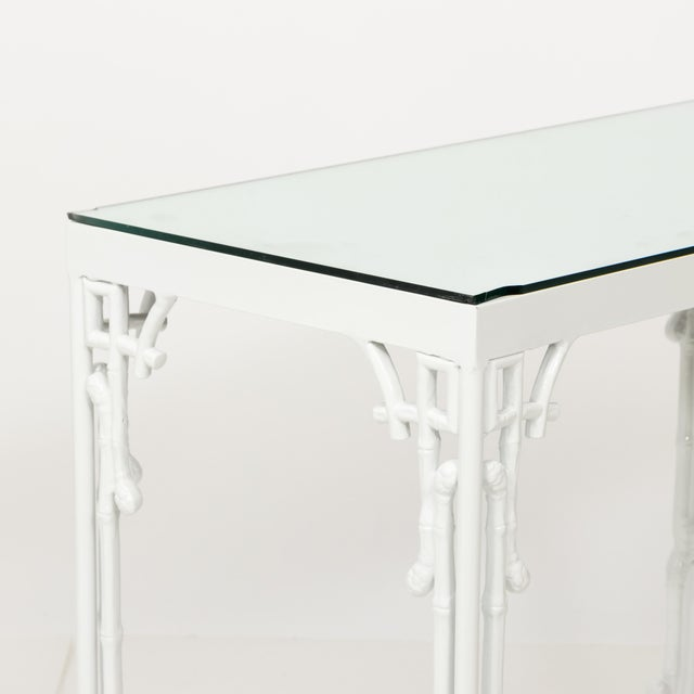 Chinoiserie White Metal Bamboo Style Console and Bench For Sale - Image 10 of 12