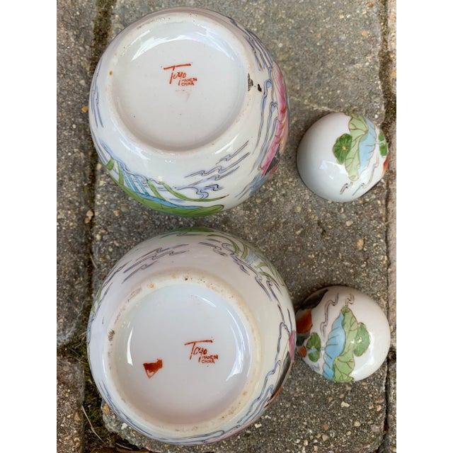 Vintage Chinoiserie Lidded Jars - a Pair For Sale - Image 10 of 11