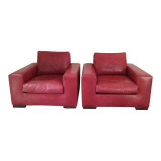 Square Red Leather Arm Chairs - A Pair