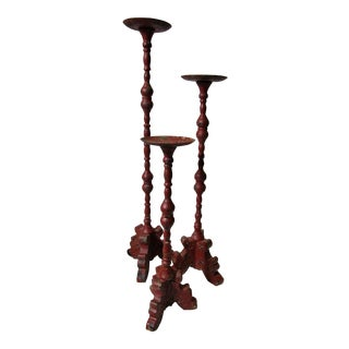 Pedestal Candle Holders in Red Paint - Set of 3